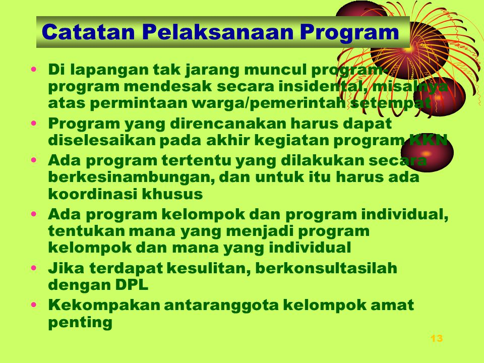 Catatan Pelaksanaan Program