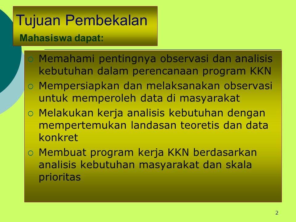 Tujuan Pembekalan Mahasiswa dapat: