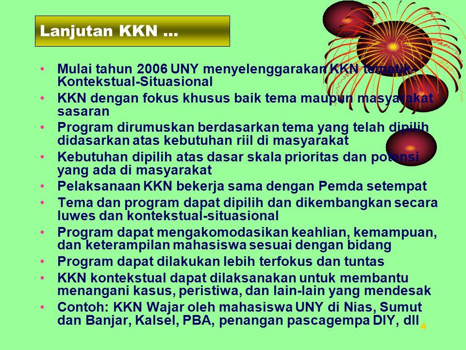 Lanjutan KKN … Mulai tahun 2006 UNY menyelenggarakan KKN tematik-Kontekstual-Situasional.