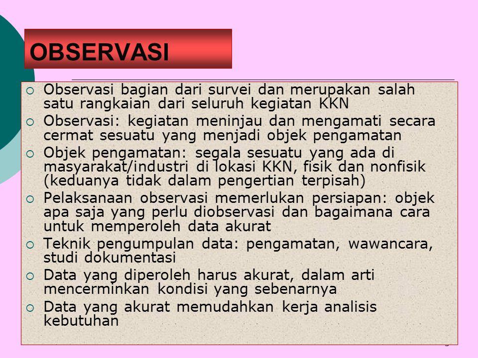 OBSERVASI Observasi bagian dari survei dan merupakan salah satu rangkaian dari seluruh kegiatan KKN.