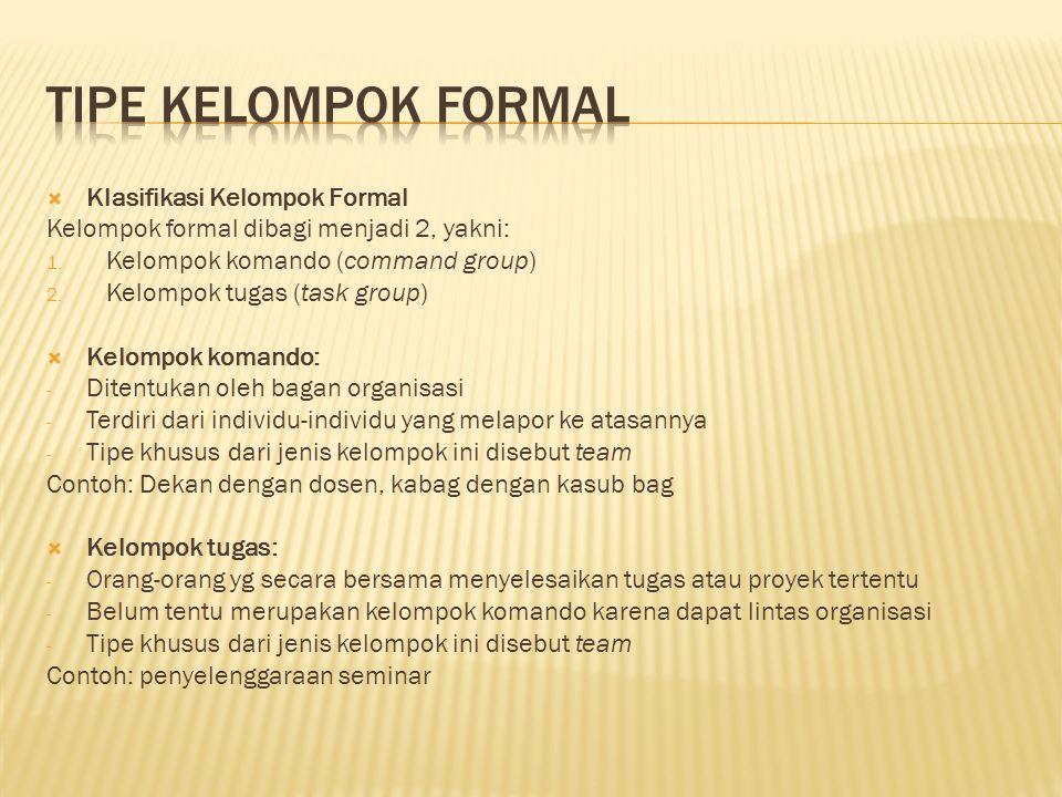 TIPE KELOMPOK FORMAL Klasifikasi Kelompok Formal