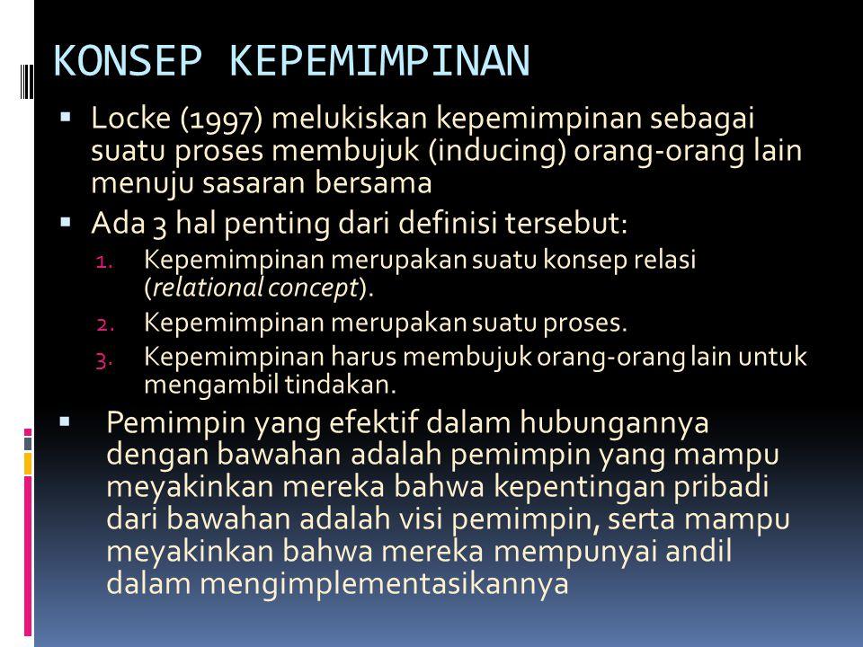 KONSEP KEPEMIMPINAN Locke (1997) melukiskan kepemimpinan sebagai suatu proses membujuk (inducing) orang-orang lain menuju sasaran bersama.