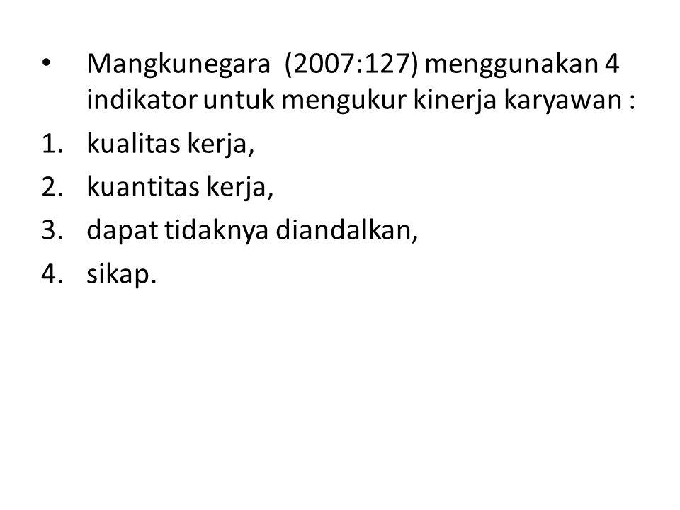 Mangkunegara (2007:127) menggunakan 4 indikator untuk mengukur kinerja karyawan :