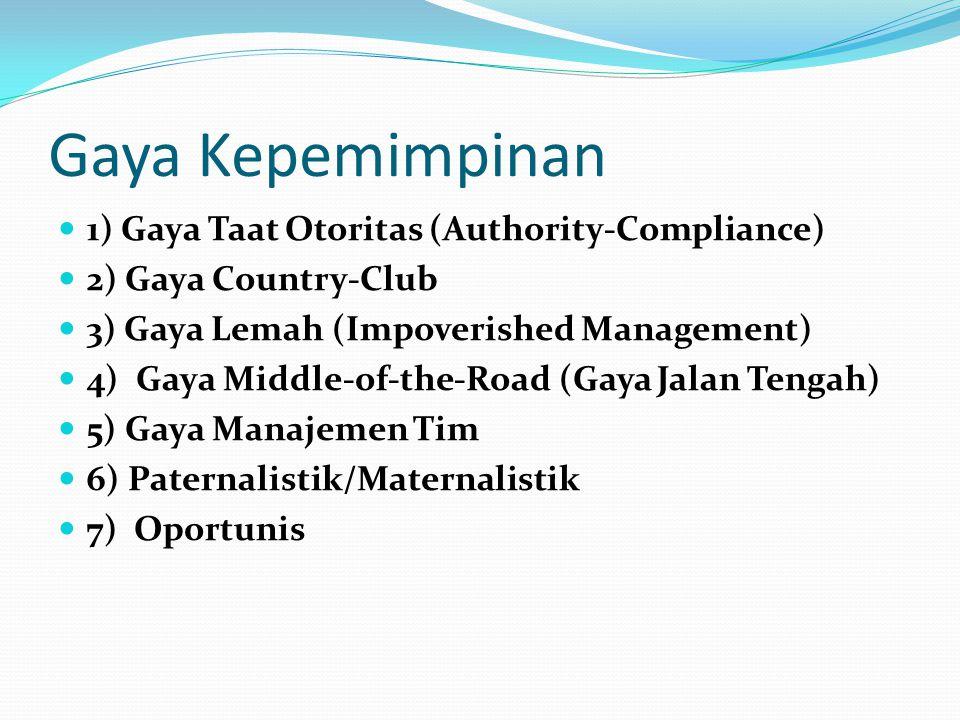 Gaya Kepemimpinan 1) Gaya Taat Otoritas (Authority-Compliance)