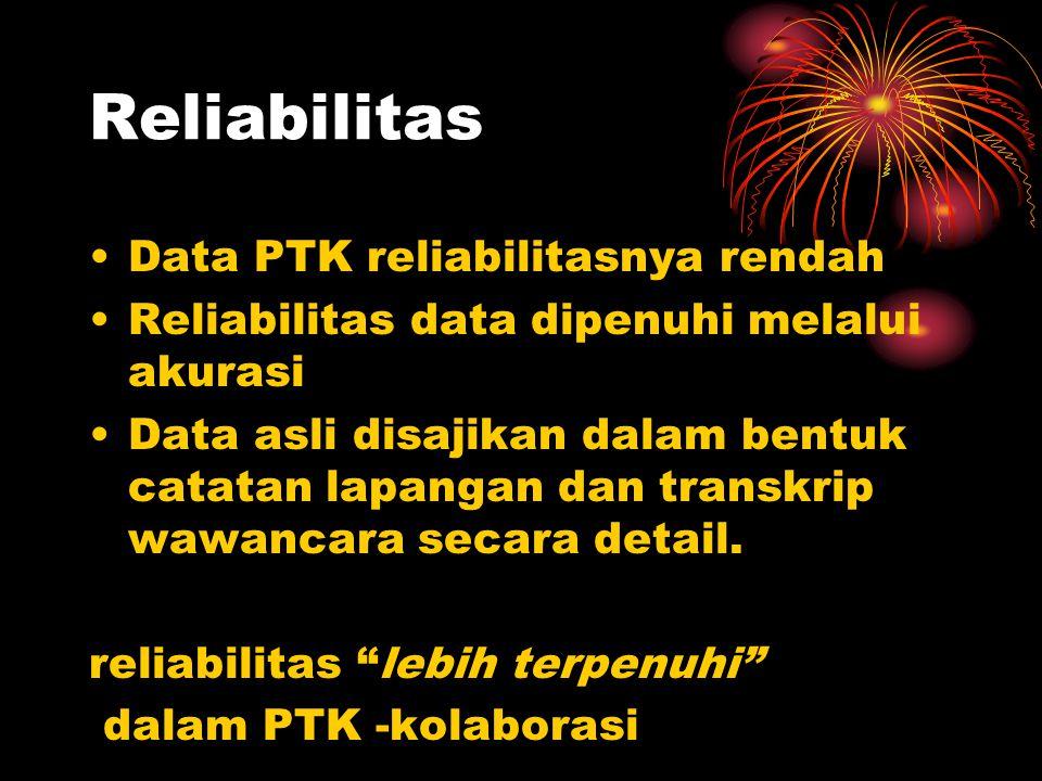 Reliabilitas Data PTK reliabilitasnya rendah