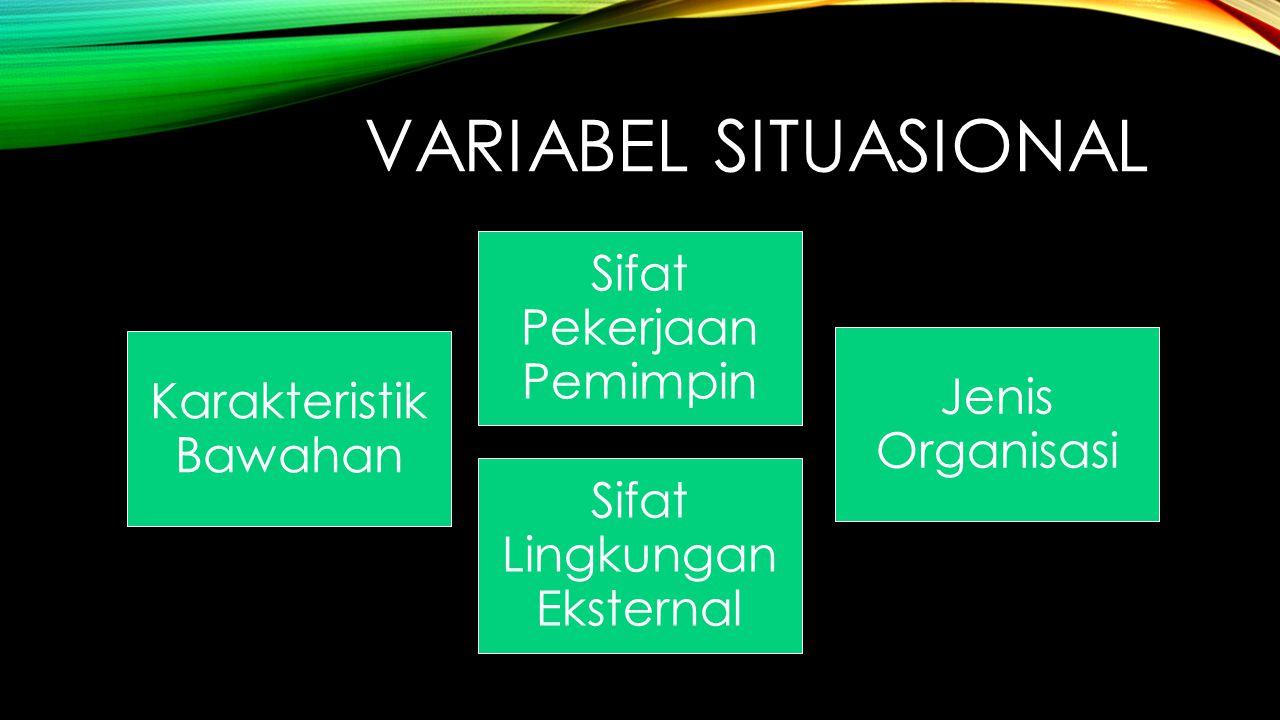 Variabel Situasional Sifat Pekerjaan Pemimpin Karakteristik Bawahan