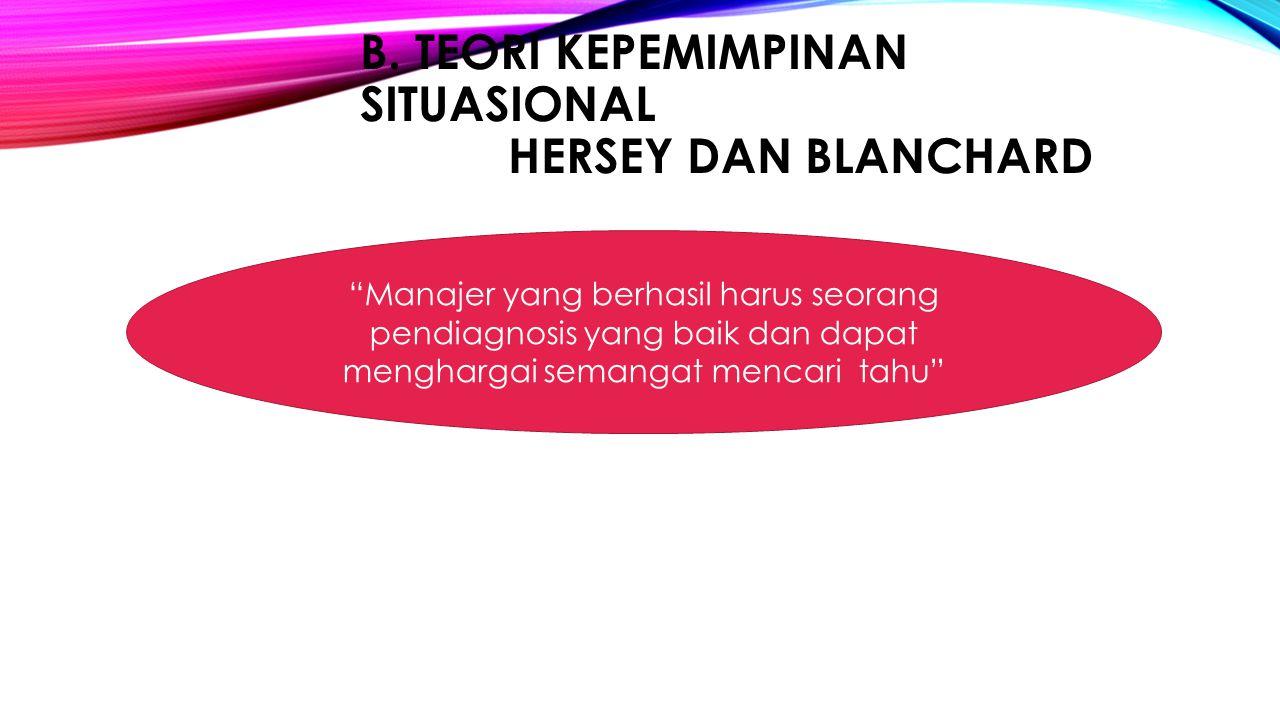 B. Teori Kepemimpinan Situasional Hersey dan Blanchard
