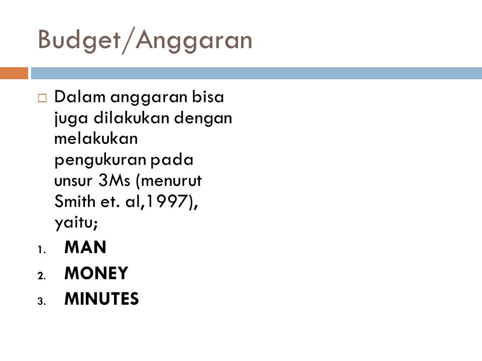 Budget/Anggaran Dalam anggaran bisa juga dilakukan dengan melakukan pengukuran pada unsur 3Ms (menurut Smith et. al,1997), yaitu;