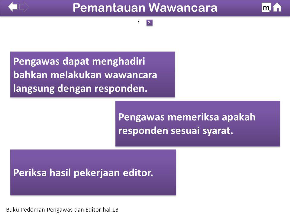Pemantauan Wawancara m. SDKI 2012. 100% 1. 2. Pengawas dapat menghadiri bahkan melakukan wawancara langsung dengan responden.