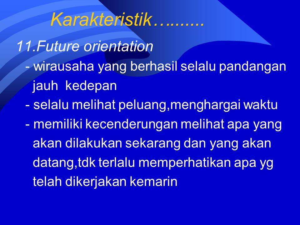 Karakteristik…....... 11.Future orientation