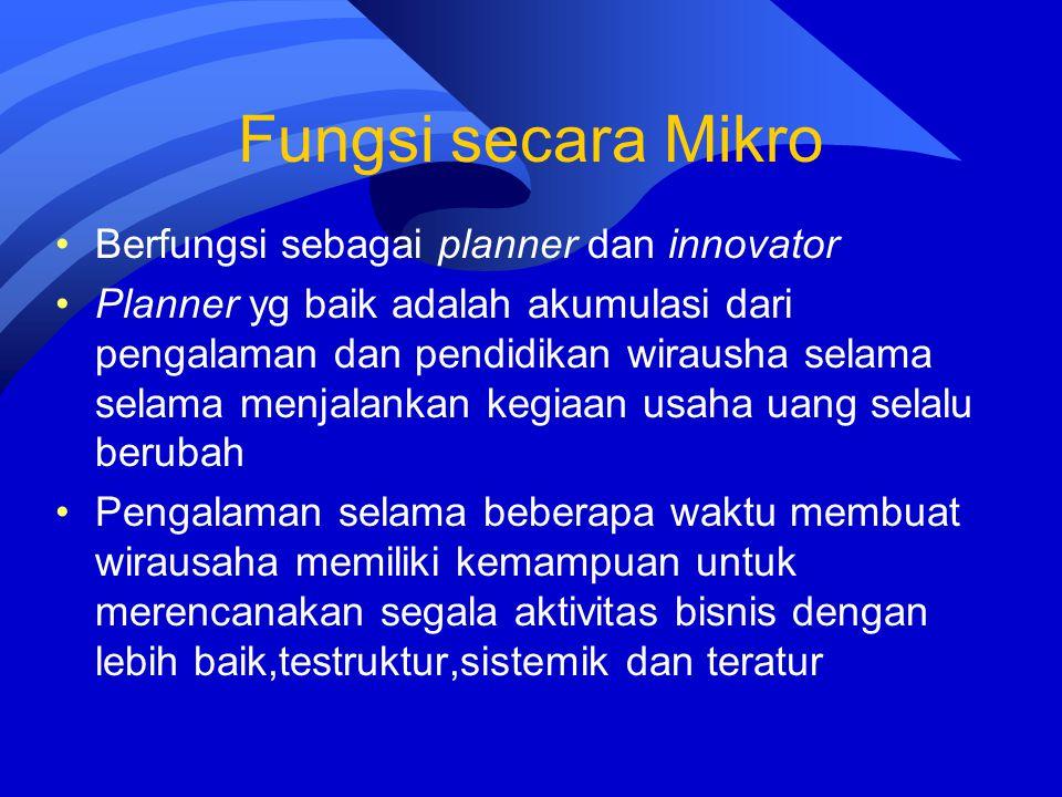 Fungsi secara Mikro Berfungsi sebagai planner dan innovator