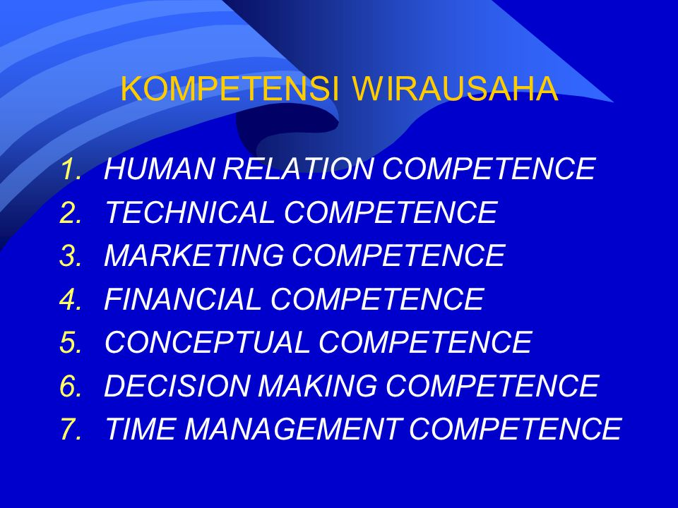 KOMPETENSI WIRAUSAHA HUMAN RELATION COMPETENCE TECHNICAL COMPETENCE