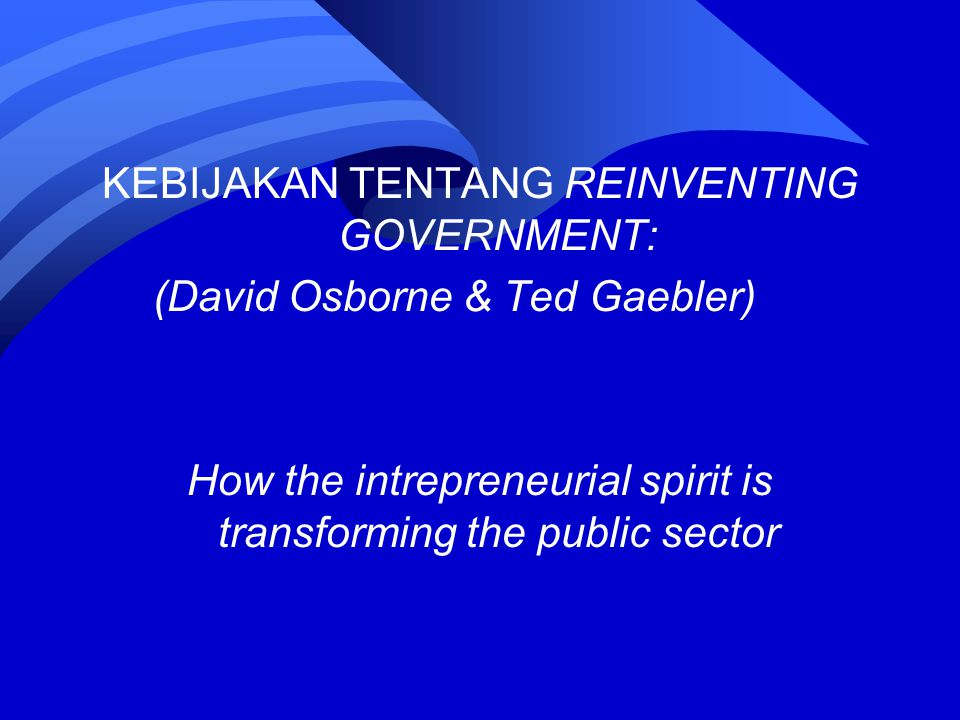 KEBIJAKAN TENTANG REINVENTING GOVERNMENT: