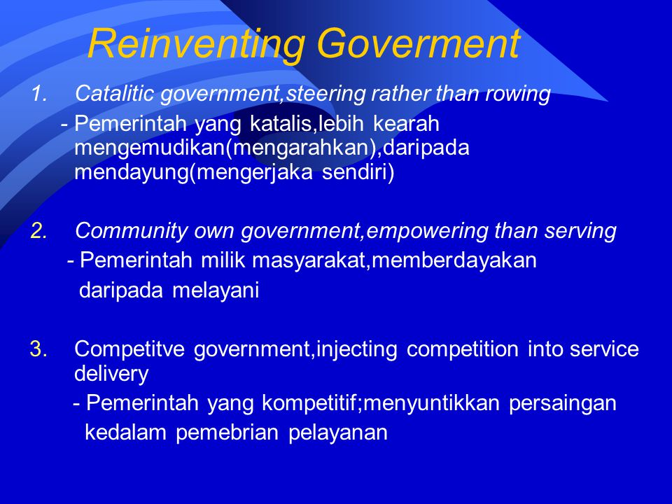 Reinventing Goverment