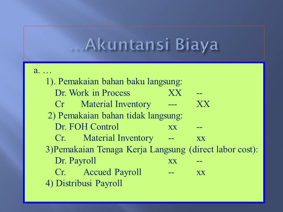 …Akuntansi Biaya a. … 1). Pemakaian bahan baku langsung:
