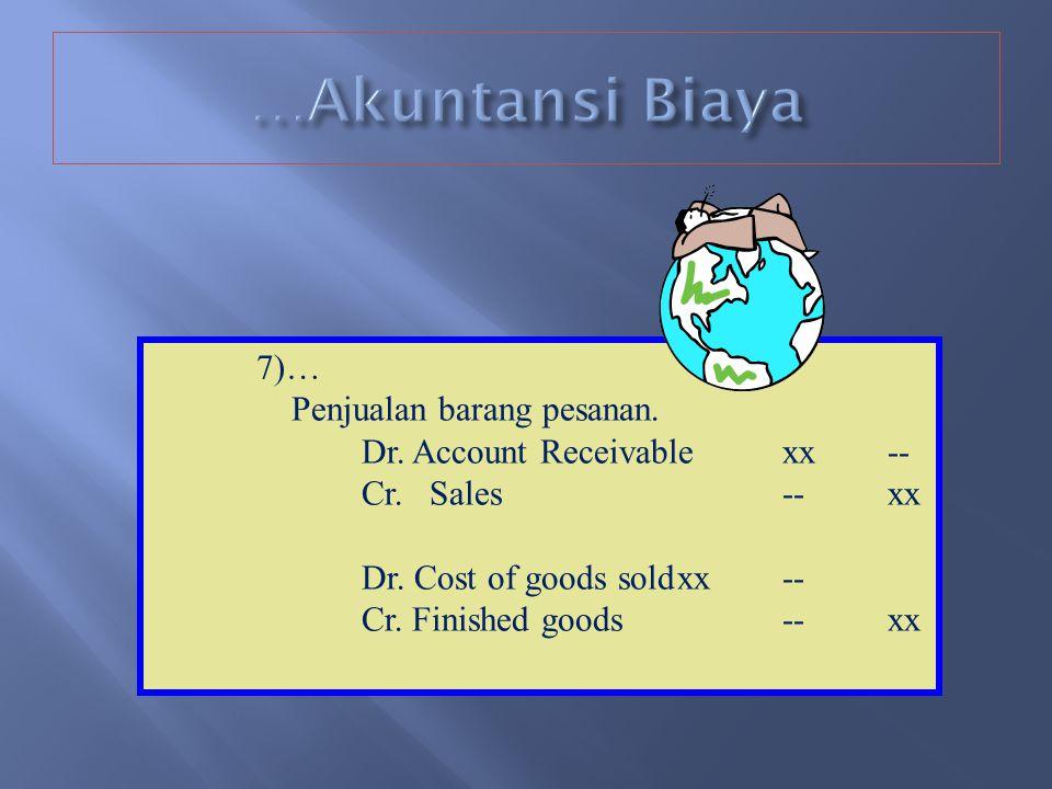 …Akuntansi Biaya 7)… Penjualan barang pesanan.