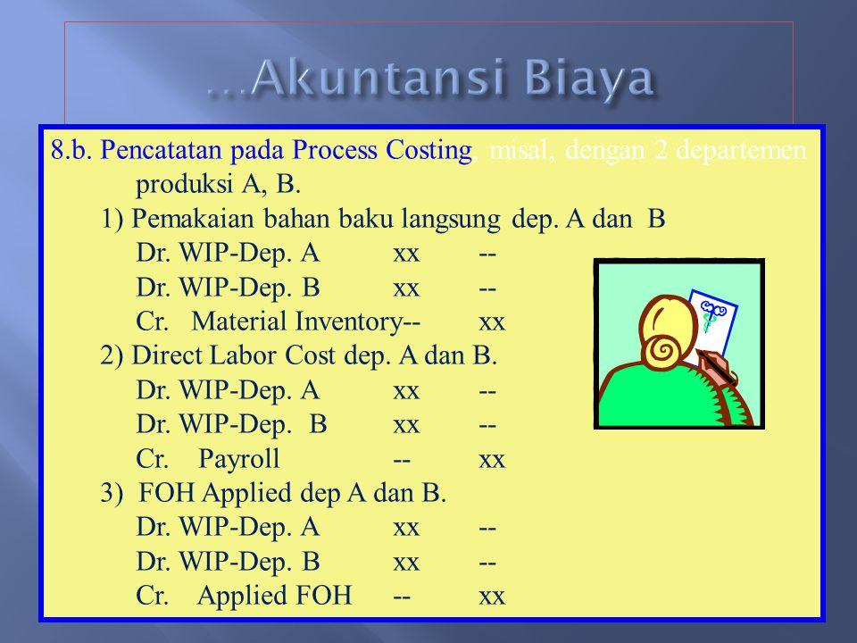 …Akuntansi Biaya 8.b. Pencatatan pada Process Costing, misal, dengan 2 departemen. produksi A, B. 1) Pemakaian bahan baku langsung dep. A dan B.