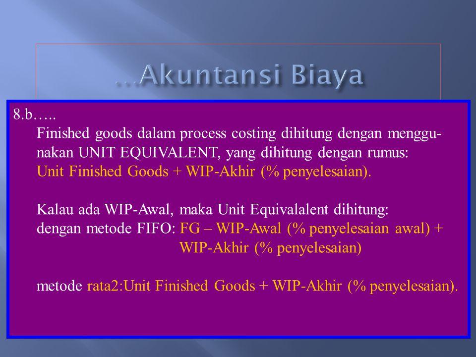 …Akuntansi Biaya 8.b….. Finished goods dalam process costing dihitung dengan menggu- nakan UNIT EQUIVALENT, yang dihitung dengan rumus: