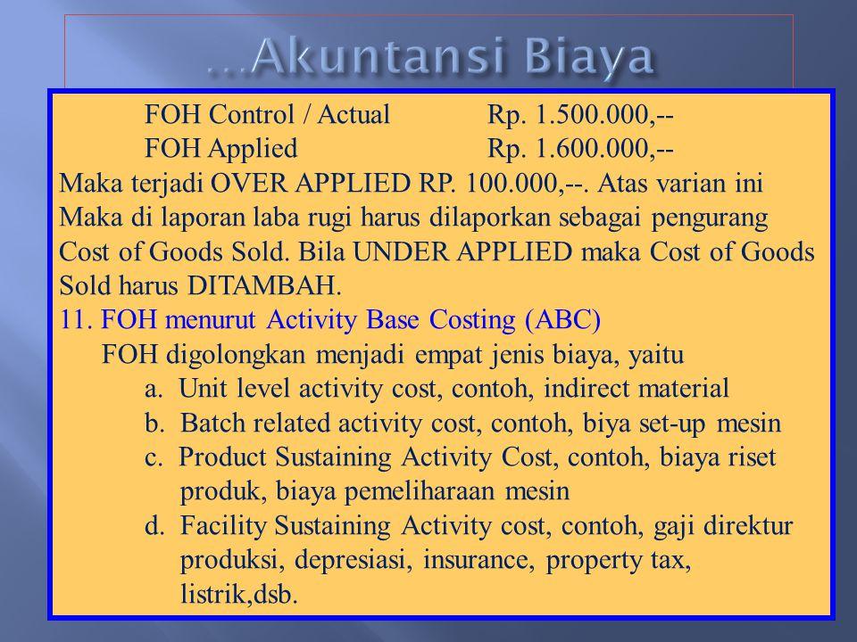 …Akuntansi Biaya FOH Control / Actual Rp. 1.500.000,--