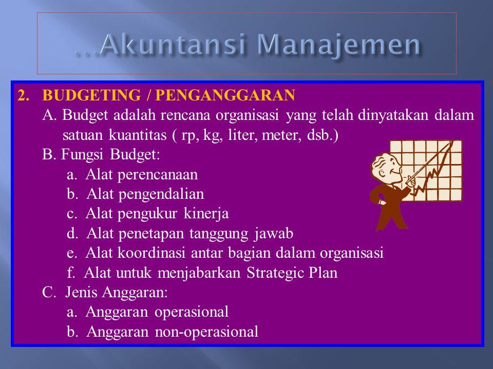 …Akuntansi Manajemen BUDGETING / PENGANGGARAN