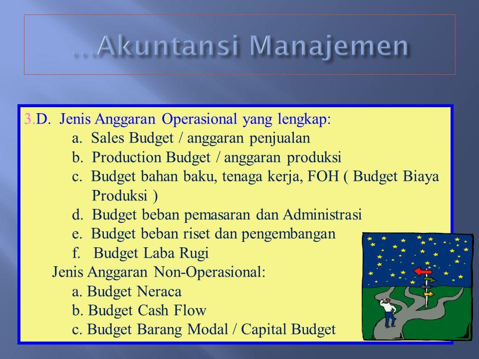 …Akuntansi Manajemen 3.D. Jenis Anggaran Operasional yang lengkap: