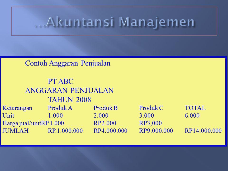 …Akuntansi Manajemen Contoh Anggaran Penjualan PT ABC