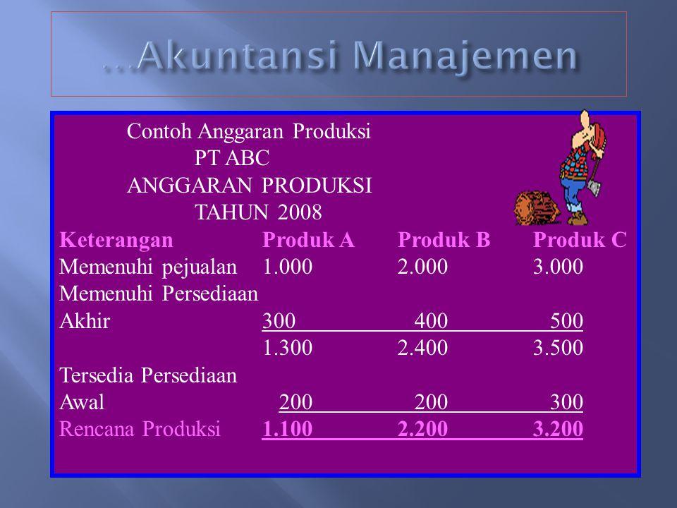 …Akuntansi Manajemen Contoh Anggaran Produksi PT ABC ANGGARAN PRODUKSI