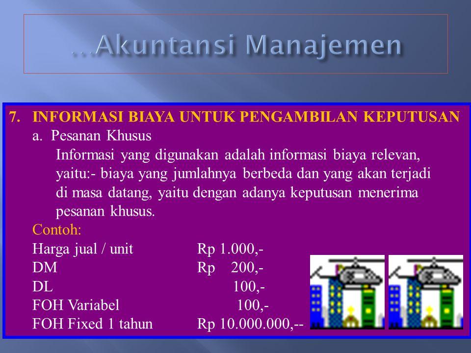 …Akuntansi Manajemen INFORMASI BIAYA UNTUK PENGAMBILAN KEPUTUSAN