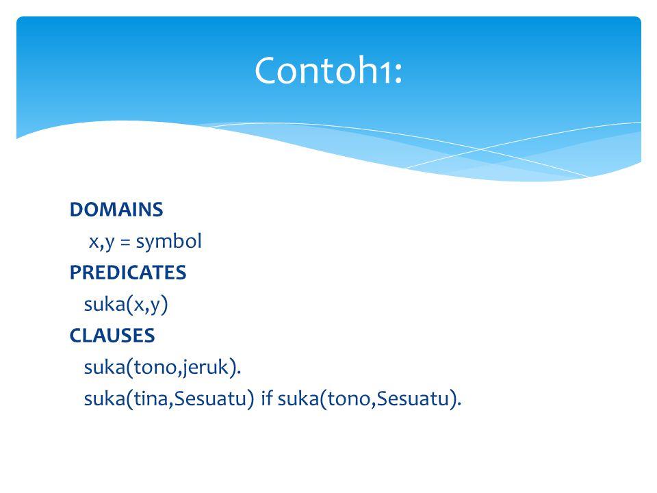 Contoh1: DOMAINS x,y = symbol PREDICATES suka(x,y) CLAUSES suka(tono,jeruk).