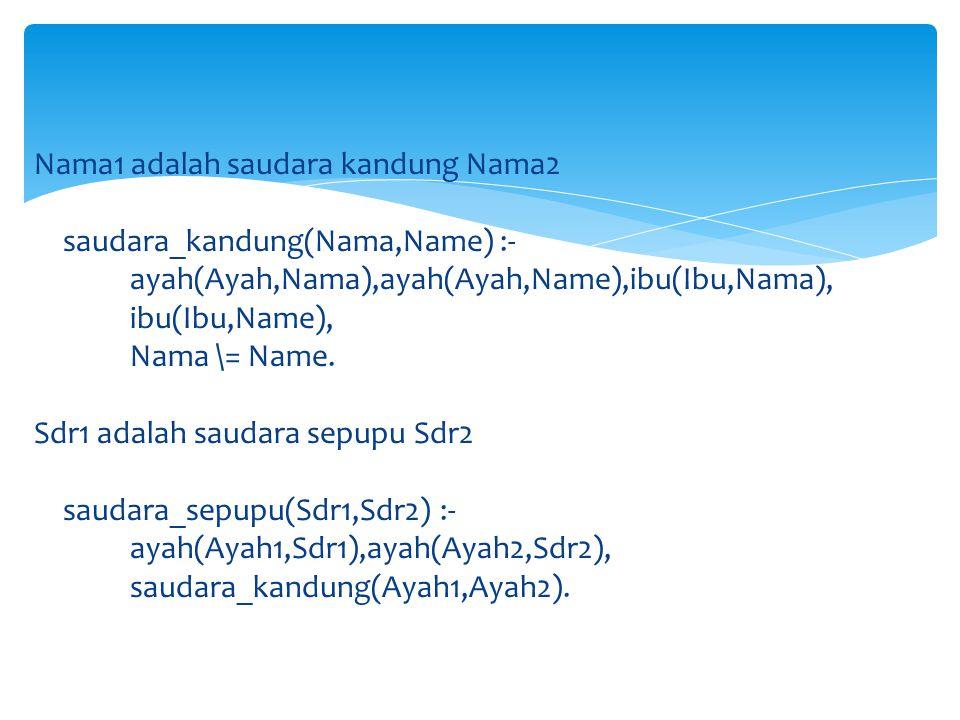 Nama1 adalah saudara kandung Nama2 saudara_kandung(Nama,Name) :- ayah(Ayah,Nama),ayah(Ayah,Name),ibu(Ibu,Nama), ibu(Ibu,Name), Nama \= Name.