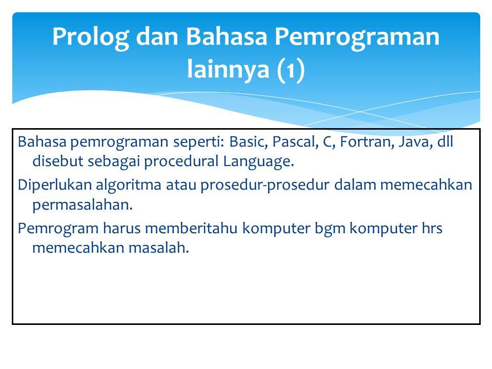 Prolog dan Bahasa Pemrograman lainnya (1)