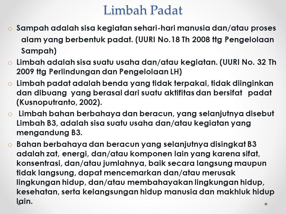 Limbah Padat Sampah adalah sisa kegiatan sehari-hari manusia dan/atau proses. alam yang berbentuk padat. (UURI No.18 Th 2008 ttg Pengelolaan.