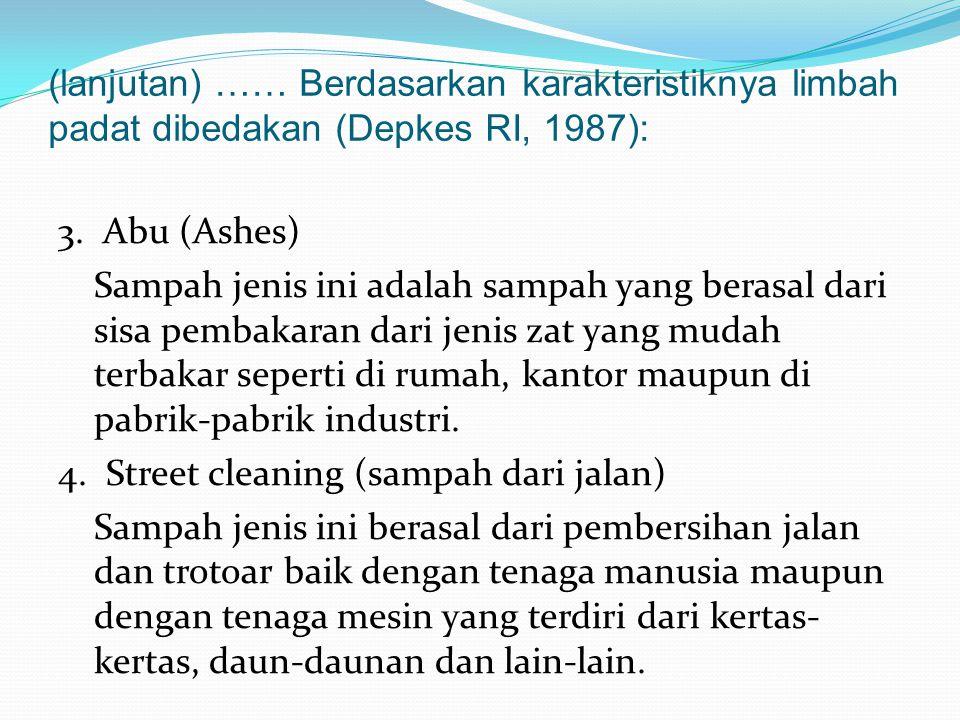 (lanjutan) …… Berdasarkan karakteristiknya limbah padat dibedakan (Depkes RI, 1987):