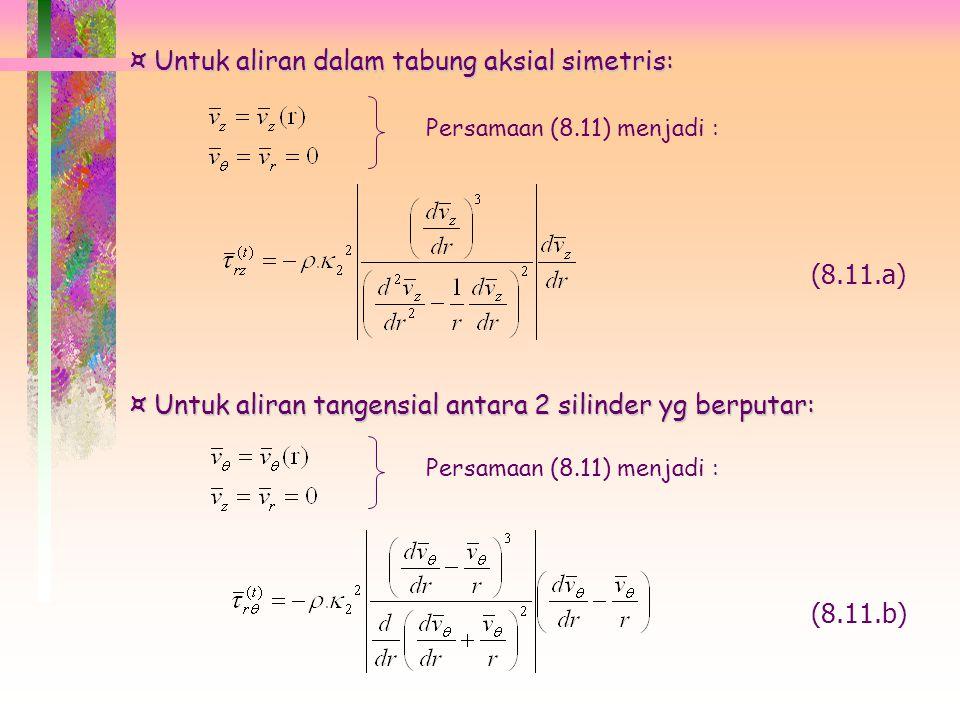 Untuk aliran dalam tabung aksial simetris: