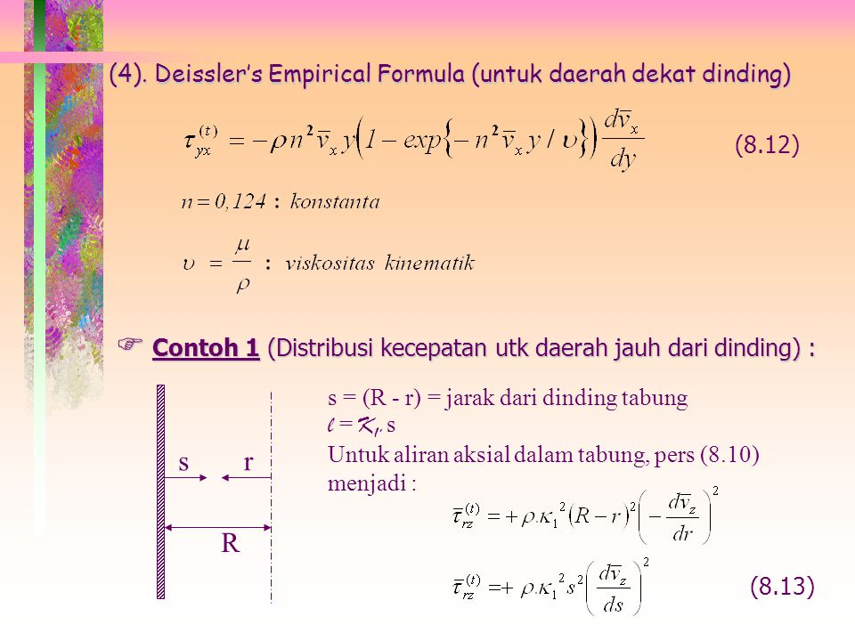 R s r (4). Deissler's Empirical Formula (untuk daerah dekat dinding)