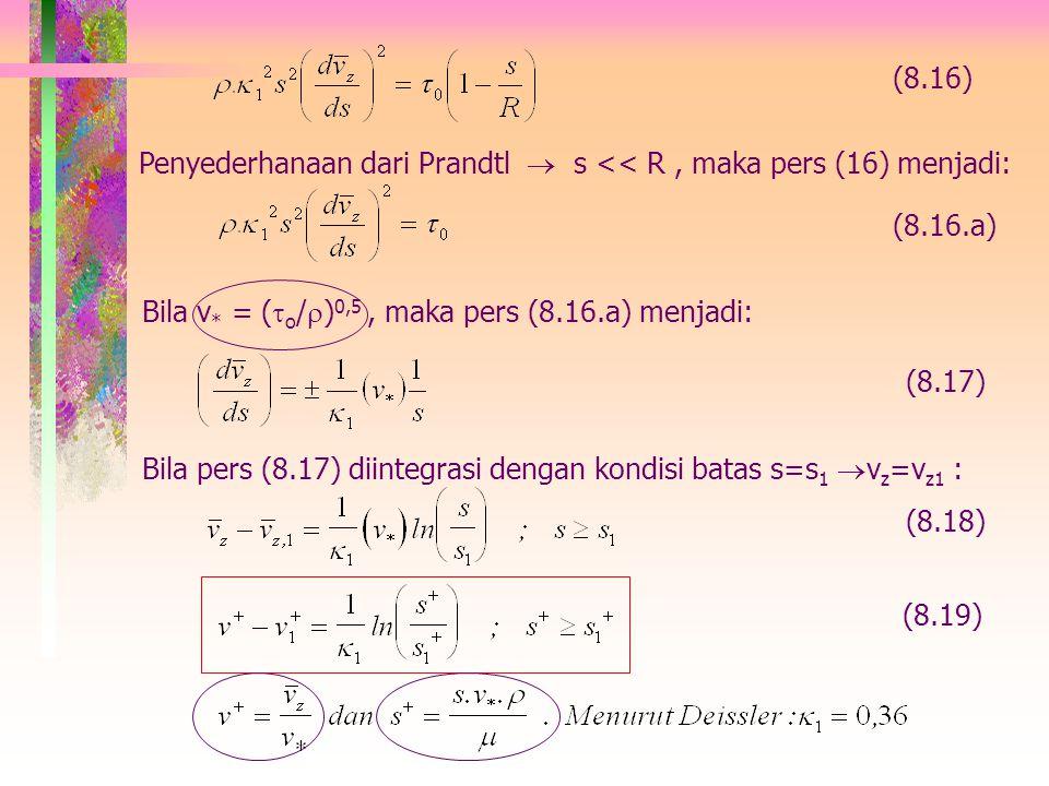 (8.16) Penyederhanaan dari Prandtl  s << R , maka pers (16) menjadi: (8.16.a) Bila v* = (o/)0,5 , maka pers (8.16.a) menjadi: