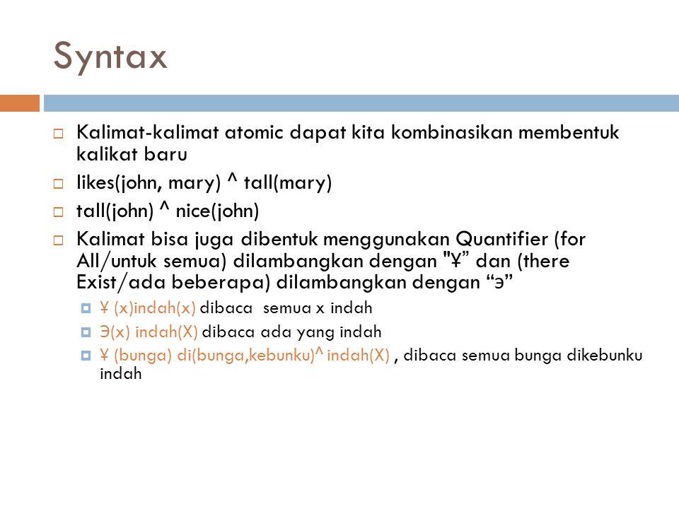 Syntax Kalimat-kalimat atomic dapat kita kombinasikan membentuk kalikat baru. likes(john, mary) ^ tall(mary)