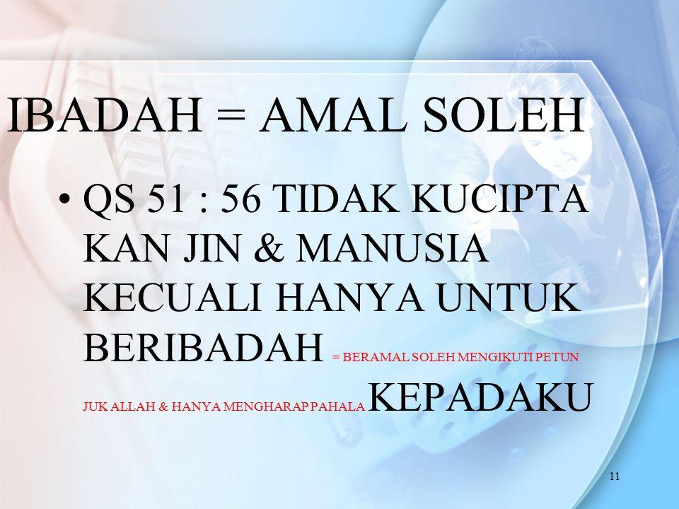 IBADAH = AMAL SOLEH
