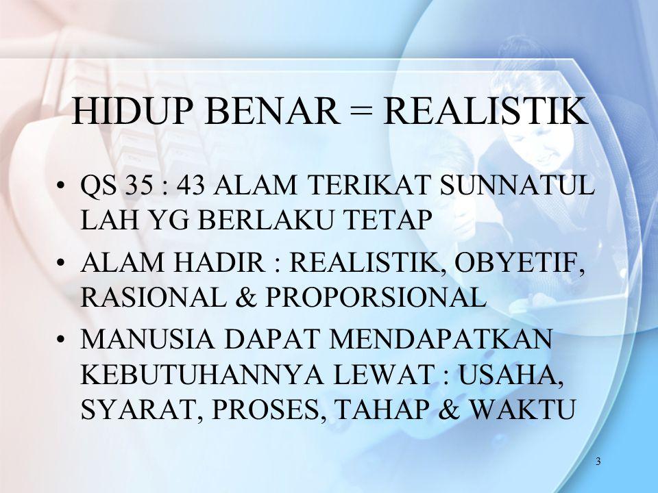HIDUP BENAR = REALISTIK