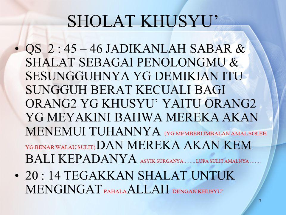 SHOLAT KHUSYU'