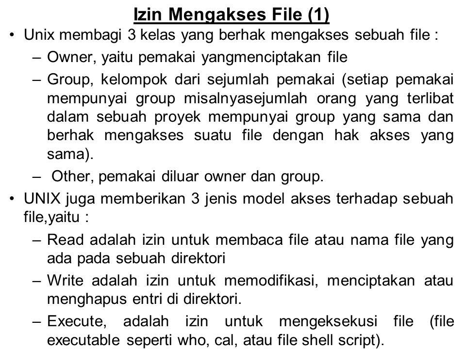 Izin Mengakses File (1) Unix membagi 3 kelas yang berhak mengakses sebuah file : Owner, yaitu pemakai yangmenciptakan file.