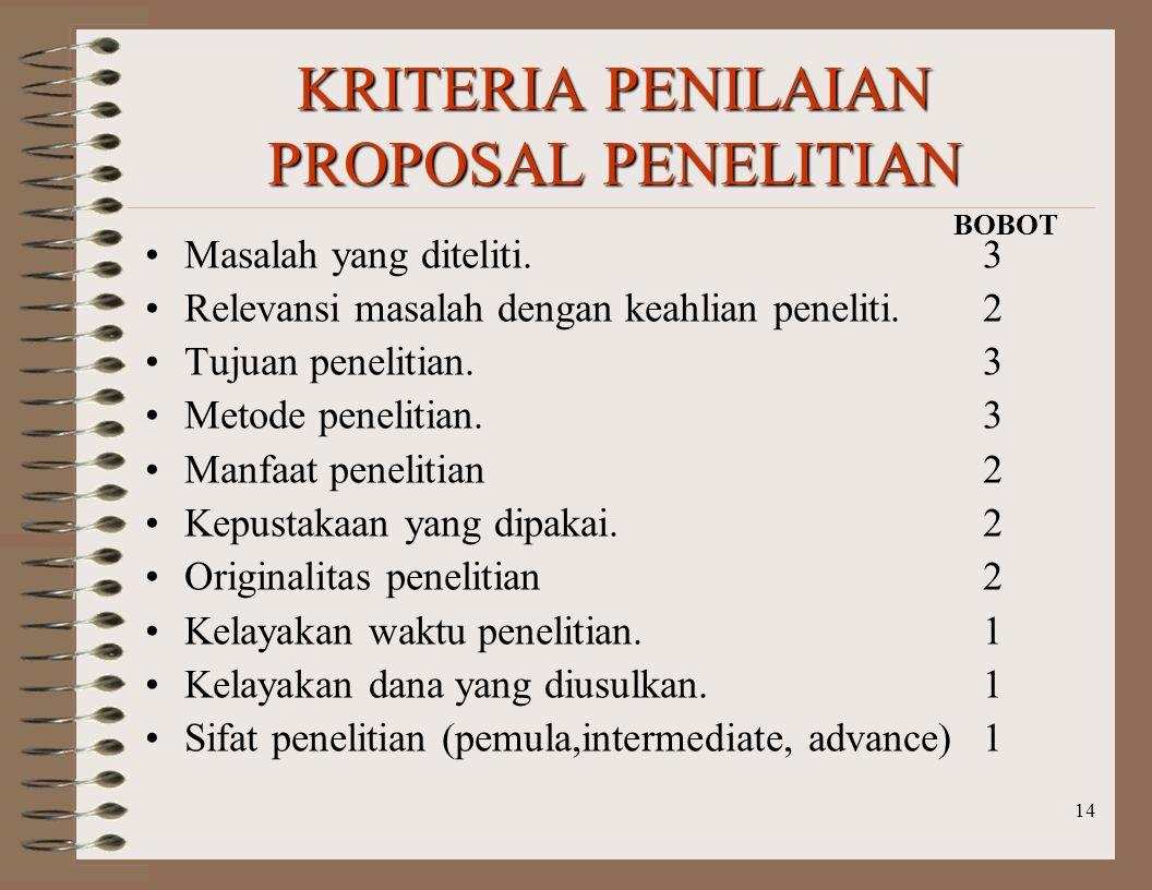 KRITERIA PENILAIAN PROPOSAL PENELITIAN