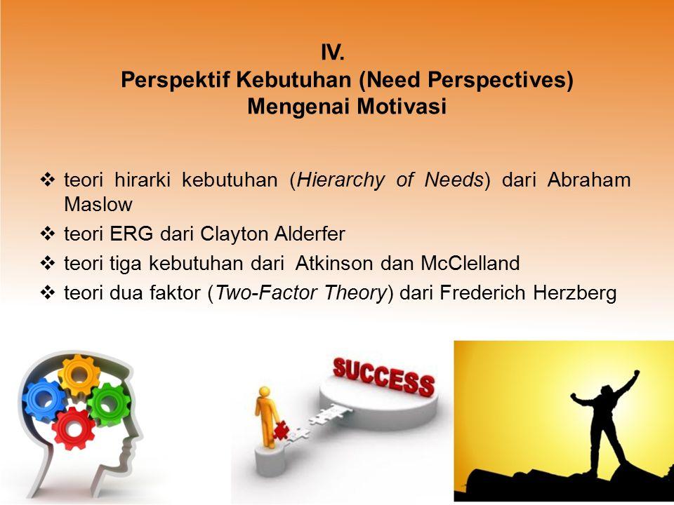IV. Perspektif Kebutuhan (Need Perspectives) Mengenai Motivasi
