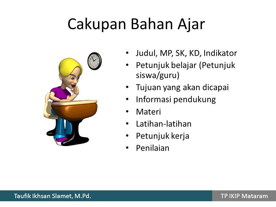 Cakupan Bahan Ajar Judul, MP, SK, KD, Indikator