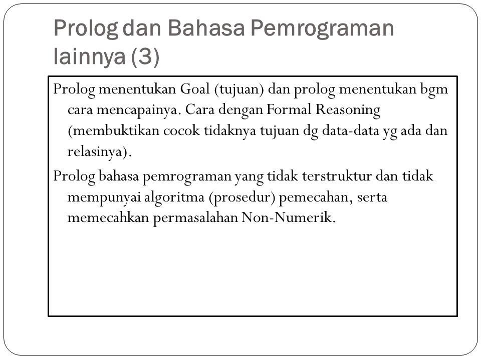 Prolog dan Bahasa Pemrograman lainnya (3)
