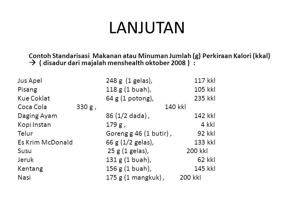 LANJUTAN Contoh Standarisasi Makanan atau Minuman Jumlah (g) Perkiraan Kalori (kkal)  ( disadur dari majalah menshealth oktober 2008 ) :