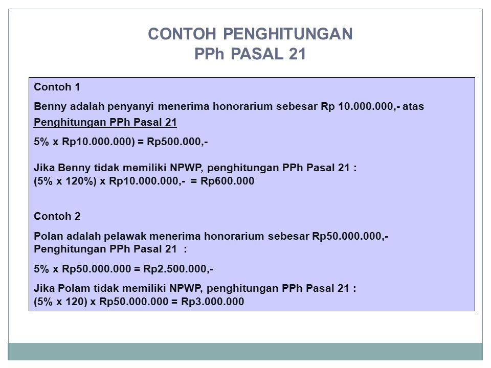 CONTOH PENGHITUNGAN PPh PASAL 21