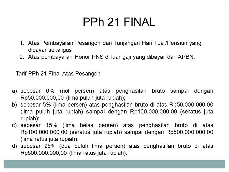 PPh 21 FINAL Atas Pembayaran Pesangon dan Tunjangan Hari Tua /Pensiun yang dibayar sekaligus.
