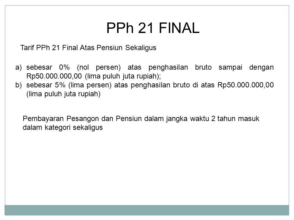 PPh 21 FINAL Tarif PPh 21 Final Atas Pensiun Sekaligus