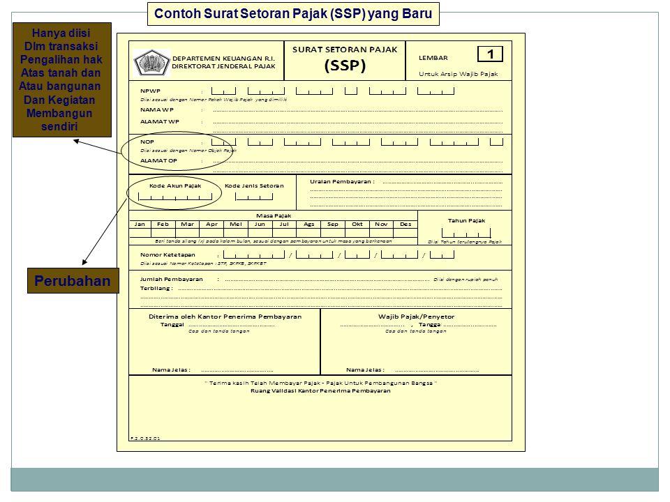 Contoh Surat Setoran Pajak (SSP) yang Baru